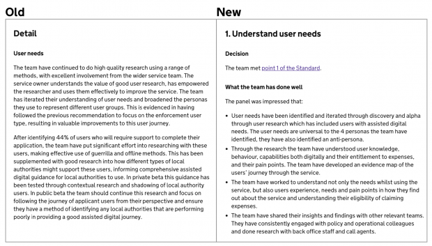 A comparison of the old and the new service assessment report format; the old on the left is an unstructured block of text, the new one on the right has subheadings and is structured with bullet points