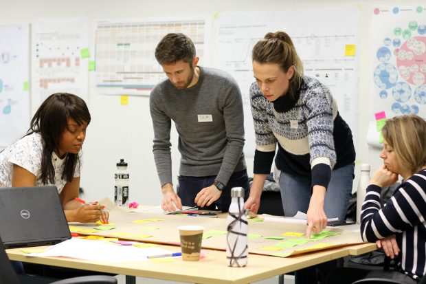 A group of 4 people standing around a table and mapping a service together; behind them on the wall are various types of service maps