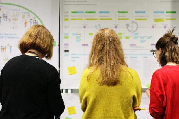 3 female public servants discussing service blueprint maps in front of a wall, annotating them with sticky notes