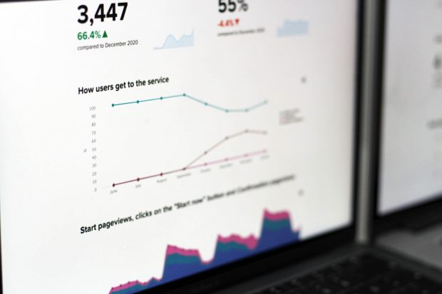 Detail of visual service dashboard showing a 6-month graph of how users get to the service and number of start pageviews over time